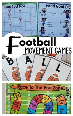 Football activities for kids! These are perfect for football parties or for football classroom activities! Football printables that are fast and easy to use with movement in mind. Use these as a brain break, for physical education or your football party!