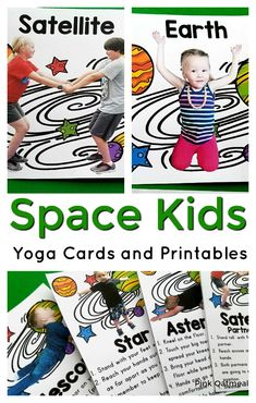 space kids yoga cards and printables are great activities